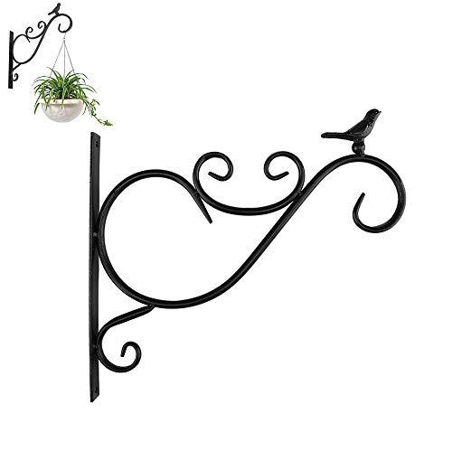 JIASHU Hanging Plant Bracket, Iron Decorative Hanger, Durable Antique Gardening Accessories, for Flower Bird Feeder Windchime Lantern 11.8 * 10.23 * 0.78in