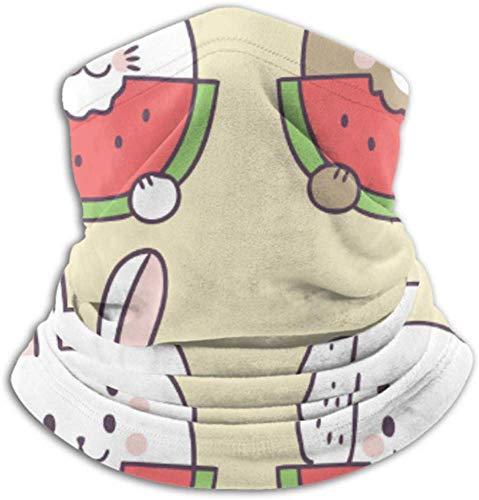 Fleece-Nackenwärmer, Multifunktions-Cartoon Cute Summer Cat Wassermelone Schal, eine Vollmaske oder Mütze, Nackenschutz, Nackenkappe, Skimaske, Halbmaske, Fac