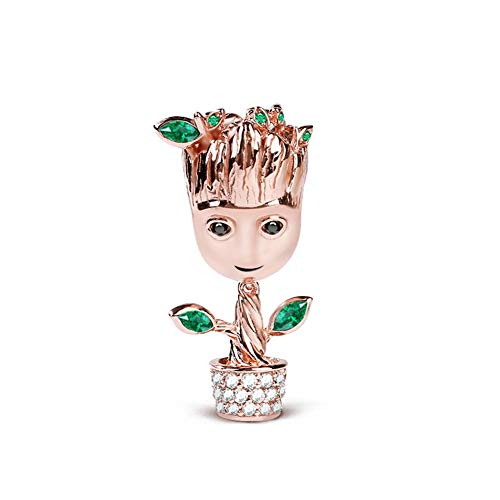 GNOCE Tree Man Charms Sterling Silver 18k Rose Gold Plated Bead Charms With Cubic Zirconia and Green leaf Fit Bracelet/Necklace Jewelry Gift for Women Mens (1Charm)