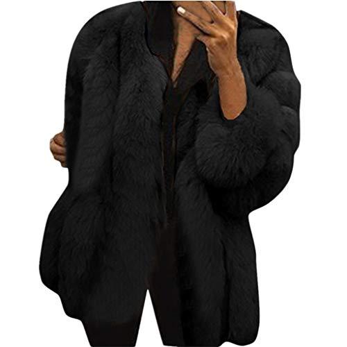 Donna Inverno Caldo Giacca Vendita Donne Faux Pelliccia Giacche Plus Taglia Peluche Outerwear(Nero,XL)