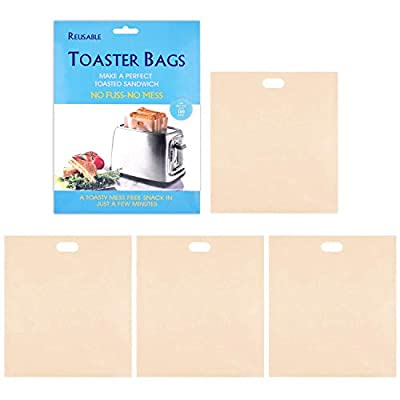 Toast Bags Non-Stick Reusable Toaster Bags, Perfect for Pizza Sandwiches Hot Dogs Pastries Slices Chicken Nuggets Fish Vegetables Panini & Garlic Toast