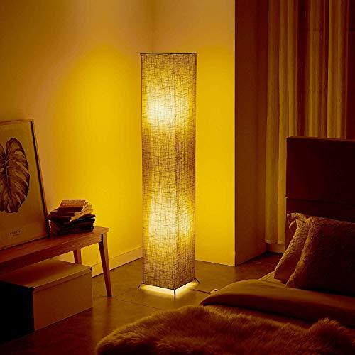 """Fy-Light Lámpara de piso 52"""" Lino cuadrado Lámparas de pie Soft Light Fabric para sala de estar Lámpara de pie Holmo moderna con 2 bombillas Atmósfera natural cálida simple para el dormitorio"""