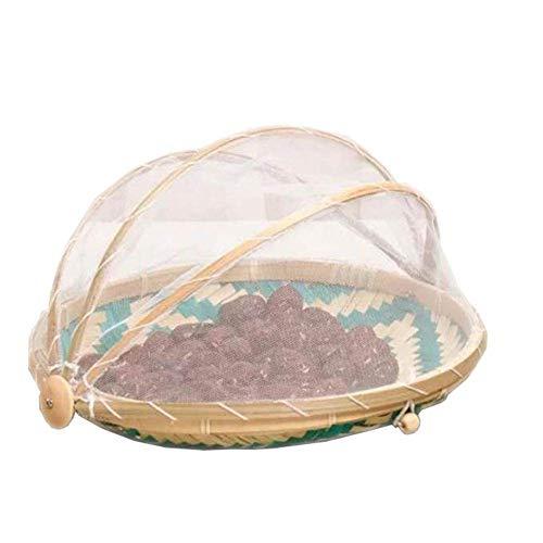 SZETOSY Bambus-Zelt-Korb - Lebensmittel-Servierkorb, Netzkorb, handgewebt, für Picknick, Lebensmittelabdeckung, Outdoor, Schutz vor Insekten und Staub, für Obst, Gemüse, Brot, Bambus, Stil 5, Dia.30cm