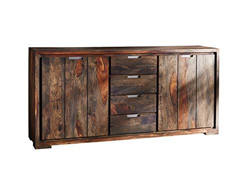 MASSIVMOEBEL24.DE Palisander Massivholz geölt Sideboard Sheesham Holz Möbel massiv Pure Sheesham Strong Grey #880