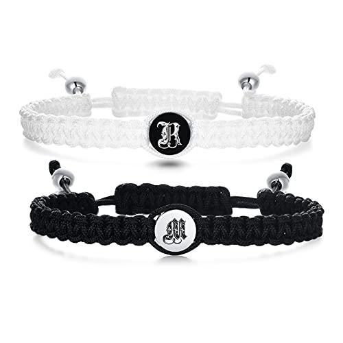 VNOX Personaliza un par de pulseras/personaliza la cuerda hecha a mano para 2 pulseras trenzadas a juego, regalo para hombres y mujeres