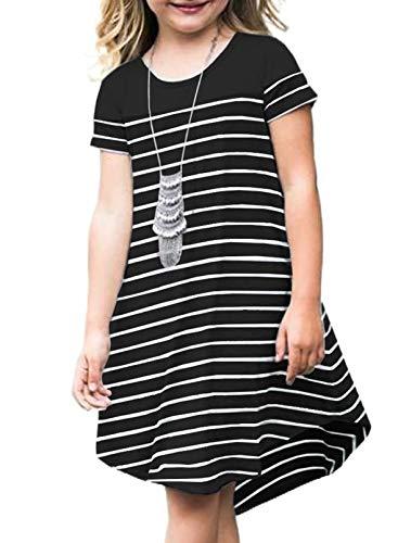 Dokotoo Girls Short Sleeve Crewneck Colorblock Striped Dresses Irregular Hem Casual Loose Midi Dress Black (4Y-5Y) S