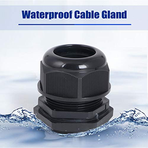 uxcell 10 Pcs M20 Waterproof IP68 Nylon Cable Gland Joint Adjustable Locknut for 6mm-12mm Dia Cable Wire