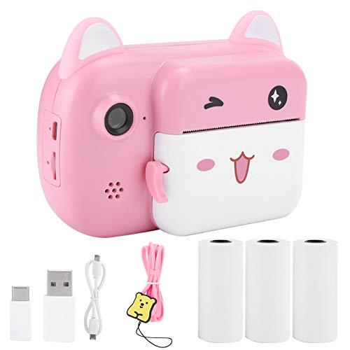 Haowecib Cámara instantánea para niños, portátil de 2400 W con píxeles, Enfoque automático, cámara de impresión instantánea para niños, sin Tinta, Regalos de cumpleaños para niños,(Pink)