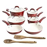 Kenmore Arlington Nonstick Ceramic Coated Forged Aluminum Induction Cookware, 12-Piece Set, Metallic Red