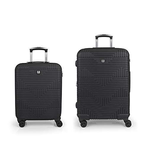 Gabol - Shock | Rigid Black Travel Suitcase Set with Cabin Trolley and Medium Trolley
