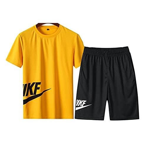 Camiseta de Ropa Deportiva Casual para Hombre y Pantalones Cortos Corriendo Corriendo Traje Deportivo, Secado rápido y Traje Suelto de 2 Piezas (Color : Yellow, Size : XXL)