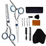 Hair Cutting Scissors Set Professional,Hairdressing Scissors Kit, Japanese Stainless Steel Thinning Shears, Hair Comb,Clips, Hairdressing Shears Kit for Home, Men and Women (Shears SET)