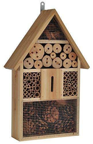 Bambelaa! XXL Insektenhotel Bienenhotel Insektenhaus mit Spitzdach aus Holz Unterschlupf für Wespen, Bienen, Schmetterlingen und Käfer aus Naturmaterialien Natur pur (48 x 31 x 10 cm) - 1 Stück