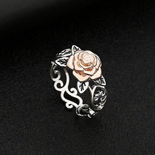 Janly - Anillo de oro rosa con diamantes para mujer, color blanco natural, romántico, joyería de boda, día de San Valentín