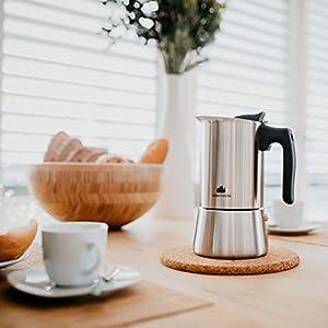 Groenenberg Espressokocher Induktion geeignet   Edelstahl   4-6 Tassen Espressokanne   200-300 ml Mokkakanne   Espresso Maker mit Ersatz Dichtung & Anleitung   Aluminiumfrei (6 Tassen (300 ml))