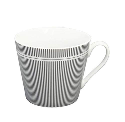 Krasilnikoff - Becher, Tasse mit Henkel - Happy Cup - Nadelstreifen - ca. 400 ml - Höhe: 9 cm - weiß/anthrazit