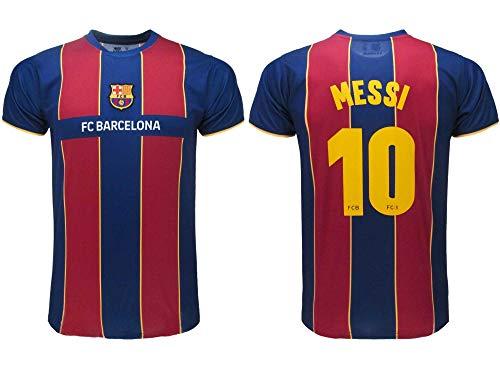 Barcelona Maglia Calcio Ufficiale FCB 2021 - Messi Numero 10 - Divisa Home - Blaugrana (8 Anni)