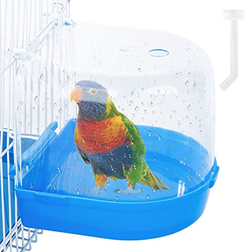 Geegoods Bird Bath Box Parakeet Caged Bird Bathing Tub with Water Injector for Small Birds Canary Budgies Parrots