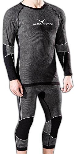 Black Crevice Ensemble de sous-vêtements Fonctionnels pour Hommes (Chemise à Manches Longues et Pantalon 3/4), Noir/Gris, en 2 Tailles, BCR218982 (50-56 (L/XL))