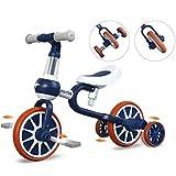 JHDPH3 Evolutif Draisienne 3 en 1 Tricycle pour L'équilibre d'apprentissage Vélo sans Pédale avec Selle Réglable en Hauteur Convient Aux Enfants 2 À 4 Ans