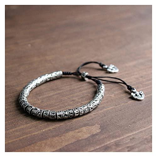 WJCRYPD Pulseras para Mujer Pulsera de latón Hombre Seis Palabras Metal Amuleto Beads Pulsera Qf Shop