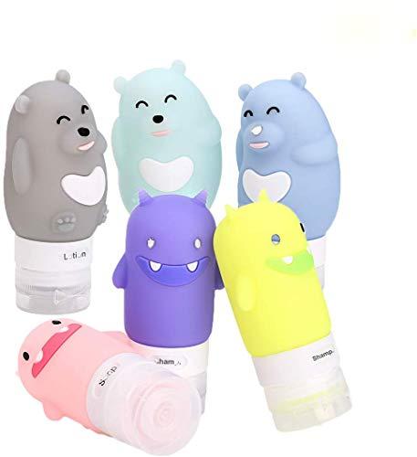 Maygone 6-teiliges Silikon-Reisekosmetikflaschen-Set mit Monsterbär-Lotion, Gesichtscreme, Lotion, Reise-Aufbewahrung, nachfüllbare Pressflaschen