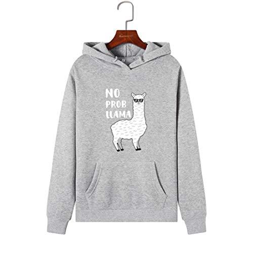 DFSSD Frauen Hoodies Sweatshirts Hooded Sweatshirt Lustige Tier Lama Print Herbst Winter Pullover Weibliche Hoodie Tops Kleidung Outwear, Grau, S