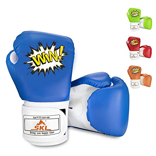 SKL Kids Boxing Gloves 4oz Training Gloves for Children Cartoon Sparring Boxing Gloves Training Mitts Junior Punch PU Leather Age 5-12 Years Blue