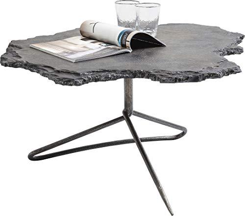 Kare Design Vulcano 82 x 92 cm, d'appoint, Table Basse, Gris – Noir, Acier, Pierre Naturelle, (H/L/P) 44 x 82 x 92 cm, Grès, (H/B/T) 44x82x92cm