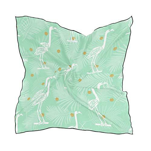 DEZIRO Hoofd Wikkel Vogel Met Gouden Stip Glitter Patroon Vrouwen Mode Sjaal Lichtgewicht Zacht Idee Geschenk 23.6x23.6 in