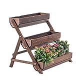 Jardinera elevada, soporte para macetas de madera, soporte para plantas de 3 niveles, estante para flores, escalera para flores, macetas para plantas, escalera para interiores, exteriores, jardín, ba
