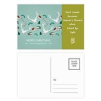 クリスマスのヘラジカハットベルツリー祭り 詩のポストカードセットサンクスカード郵送側20個