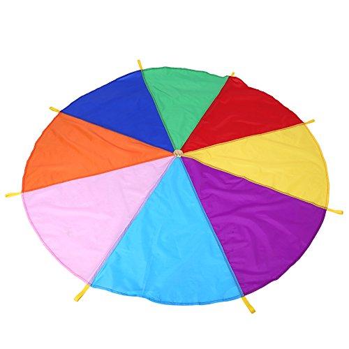 Regenbogen-Fallschirmspiel für Kinder-Teamwork, 8 Griffe, 2 m Durchmesser, Regenbogenfarben