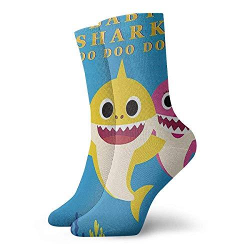 TJKK Calcetines clásicos unisex deportivos calcetines deportivos 30 cm de largo calcetines de regalo (dibujos animados bebé tiburón azul fondo marino alfombra niños)