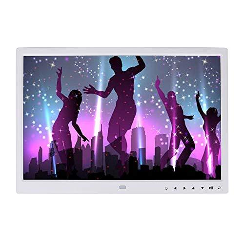 Marco digital LED TFT de 15 pulgadas, 1280 x 800 HD, pantalla táctil, marco de fotos digital con soporte, soporta imágenes, música y reproductor de vídeo, despertador, calendario (blanco)