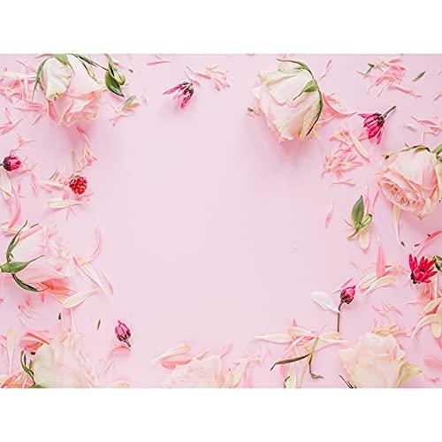 Fondo de fotografía de patrón Floral tablón de Madera Fondo de Fiesta de Flores decoración de cumpleaños Fondo de Vinilo fotográfico A18 7x5ft / 2,1x1,5 m