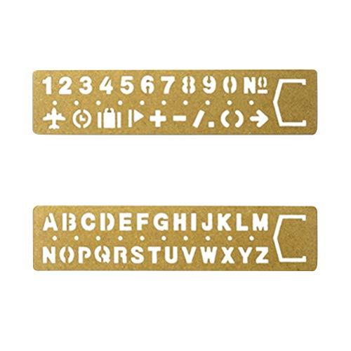 SUPVOX Marcador Plantilla de dibujo Numero Regla Alfanumérica Regla de metal hueco Plantillas de escritura a mano 2pcs