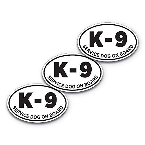 6x4 Inch K-9 Sticker 3-Pack 100% Waterproof Service Dog Sticker K9 Decal Dog Bumper Sticker Service Dog On Board Dog Decal 6x4 Dog Car Sticker Vehicle Sticker