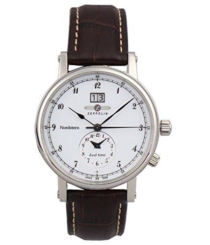 Zeppelin Herren-Armbanduhr Nordstern Analog Quarz Leder 75401