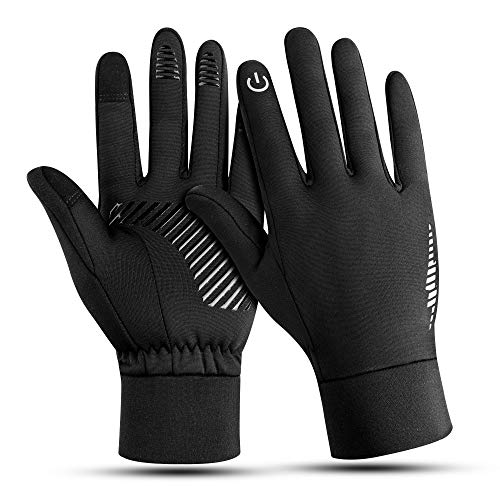 Winter Handschuhe - Fahrrad Motorrad Laufen Touchscreen Elastisch Sport Gloves fur Herren Damen, Winddicht rutschfest Atmungsaktive Outdoor Warm Handschuhe Vorwinter Frühling Herbst Schwarz S