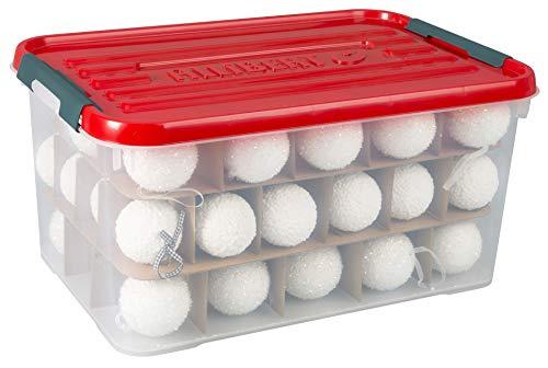 Curver | Weihnachtsbox 50 l mit Deckel Christmas Box, rot, 60 x 40 x 29 cm, Kunststoff