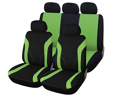 Upgrade4cars Autositzbezüge Set Grün Schwarz Auto-Sitzschoner Universal mit Reißverschluss für die Rückbank Auto-Zubehör Innenraum