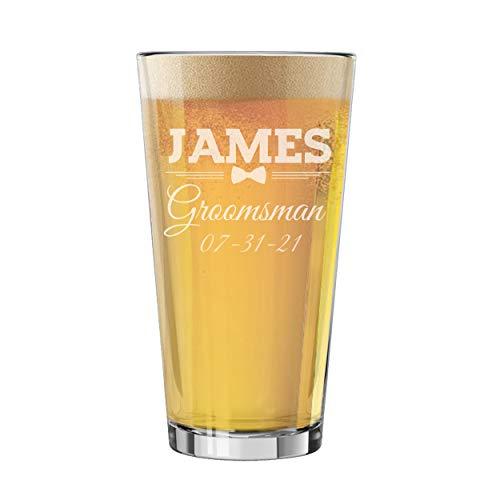 Grabado personalizado cerveza Pilsner Cerveza Cristal taza–Custom Groomsmen cerveza gafas regalos–16oz