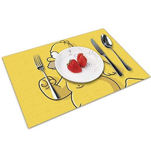 baowen Simpsons Homer - Juego de 4 manteles Individuales para Mesa de Comedor con Aislamiento Lavable, Resistentes al Calor, para Mesa de Cocina, 12 x 18 Pulgadas