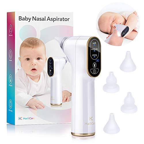 HailiCare Baby Nasal Aspirator, Elektrische Baby Neus Cleaner, USB Opladen met 3 Zuigniveaus, 4 Snot Sucker Nozzles, LED Licht, Baby Neus Stofzuiger voor pasgeborenen Kinderen en Peuters