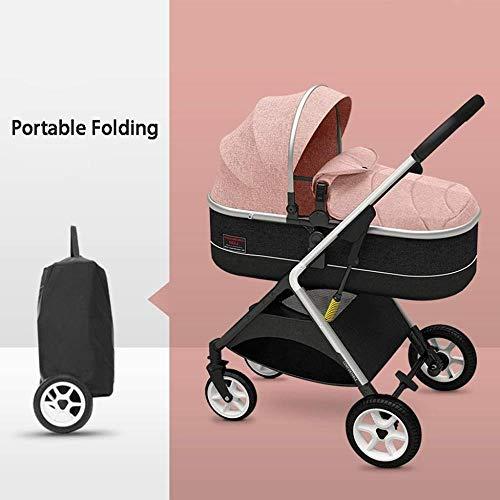 HZYD Poussette bébé, Poussette Reclining Convertible, Pliable et Portable Pram Transport Poussette, 5 Points Harnais et Haut Panier Capacité (Couleur: Gris) (Couleur: Gris), Couleur: Rouge