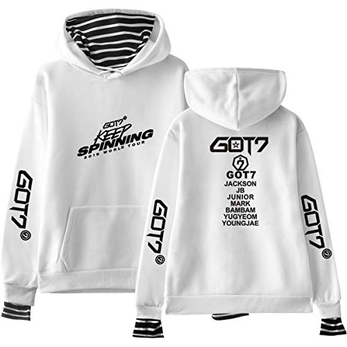 Forever Younger GOT7 World Tour Gefälschte Zwei Stück Kapuzenpullover Hoodies Langarm Casual Sweatshirt Pullover Tops Jackson JB Bambam Mark (2,XL)