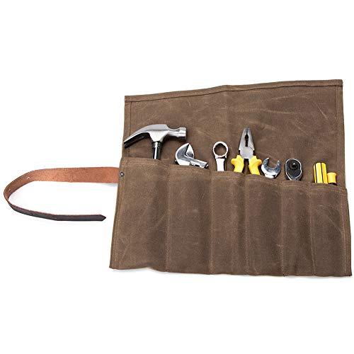 QEES Werkzeugtasche Wasserdichte Handgefertigte Rolltasche (6 Fächer) tragbare Aufbewahrungstasche Für Handwerker Elektriker Maler Künstler (HYGJB21-Braun)