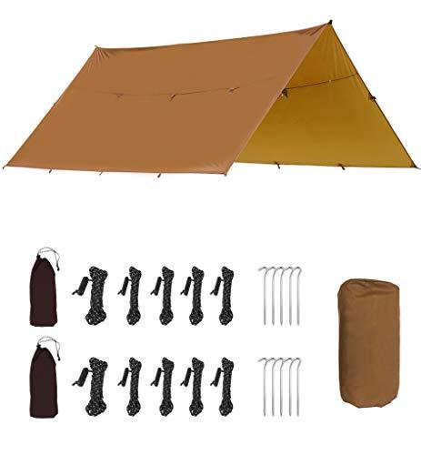 Lona, lona ligera, impermeable, p3000 mm, mina ultravioleta, 6 estacas de aluminio, 5 cuerdas y bolsas de recepción, viajes al aire libre, caqui, 300x320cm