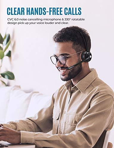 Mpow Pro Trucker audífonos Bluetooth con micrófono, audífonos inalámbricos de oficina, sobre la cabeza, audífonos Bluetooth para teléfono celular, Skype, camioneta, centro de llamadas
